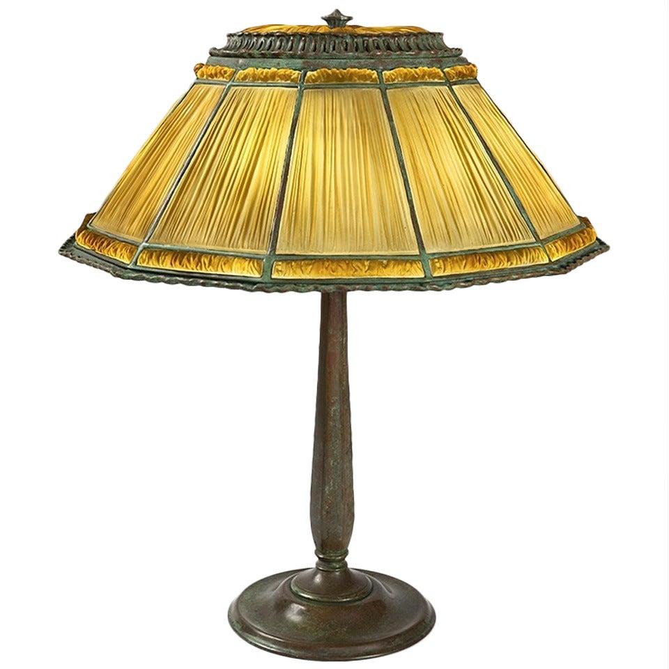tiffany studios new york linenfold table lamp at 1stdibs