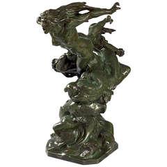 """Larche French Art Nouveau Bronze Sculpture titled """"La tempête et ses nuées"""""""