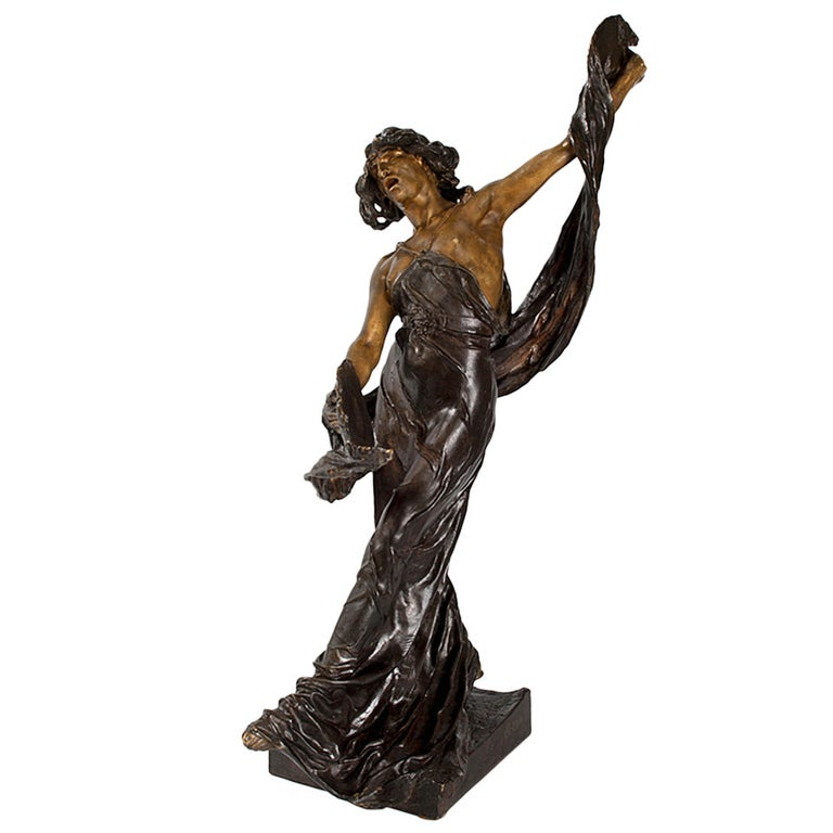Ségoffin Art Nouveau Patinated Bronze Figural Sculpture For Sale