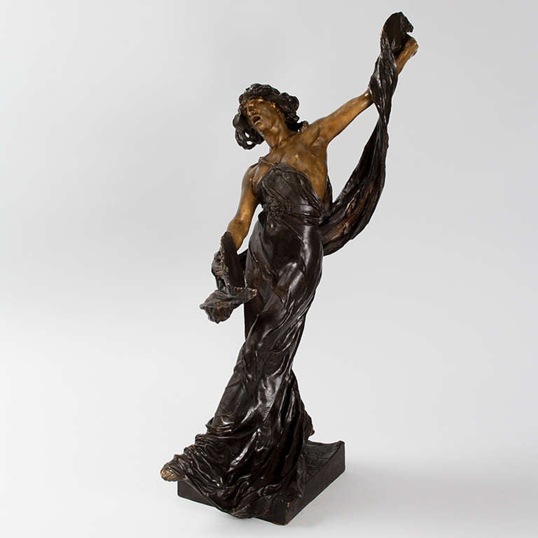 A French Art Nouveau patinated bronze figural sculpture, depicting a dancer with scarves and cymbals by Victor Ségoffin (1867-1925). Born in Toulouse, educated at Ecole nationale superieure des Beaux-Arts in Paris under Louis-Ernest Barrias and