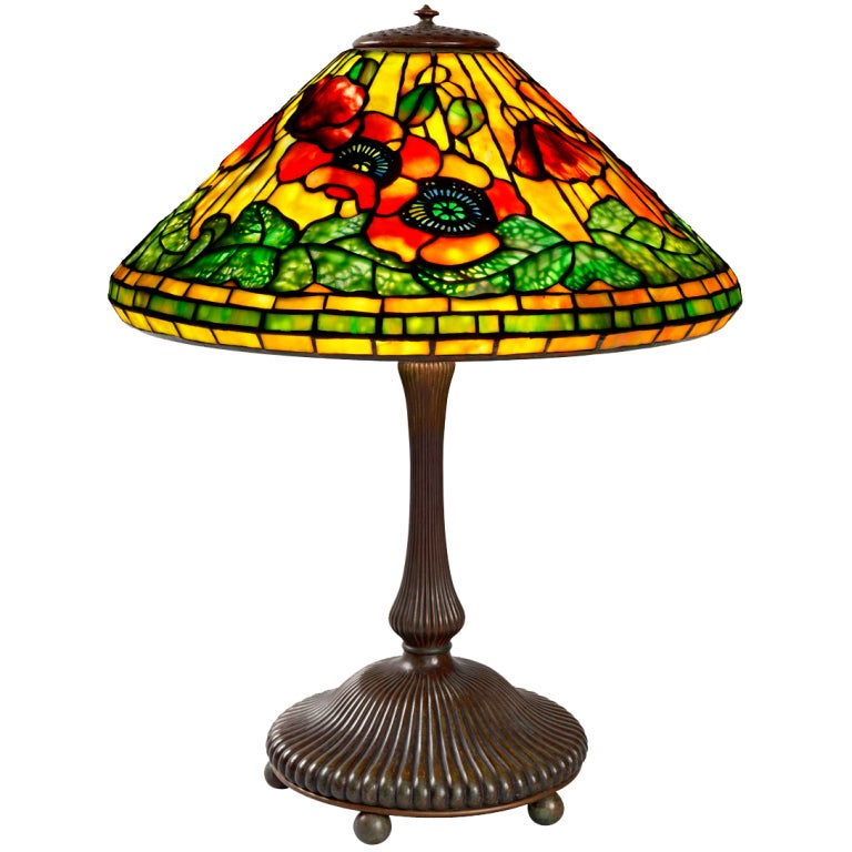tiffany studios  u0026quot wire mesh poppy u0026quot  lamp at 1stdibs