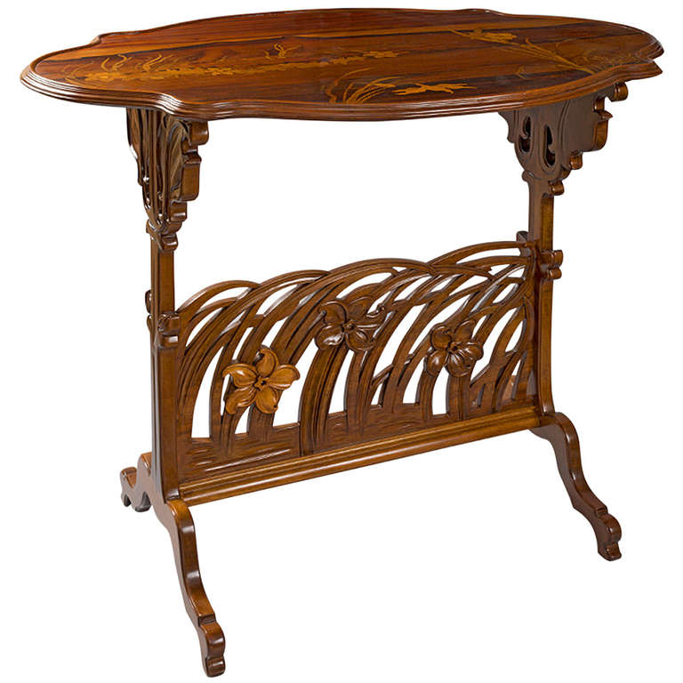 Emile Gallé Narcissus French Art Nouveau Carved Fruitwood Side Table For