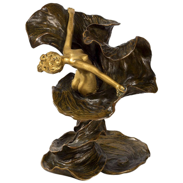Chalon French Art Nouveau Gilt And Patinated Bronze Lo 239 E Fuller At 1stdibs