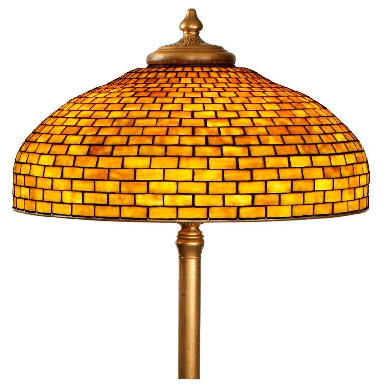 Tiffany studios quotgeometricquot floor lamp at 1stdibs for Tiffany floor lamp value