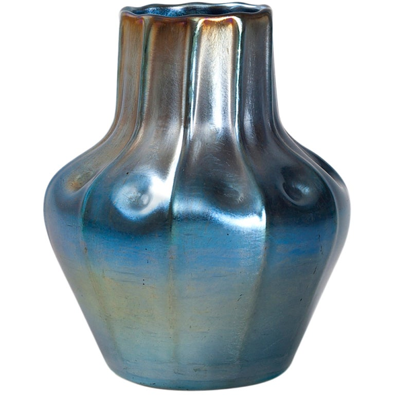 Tiffany Studios Favrile Glass Iridescent Blue Vase with Ribbed Decoration 1