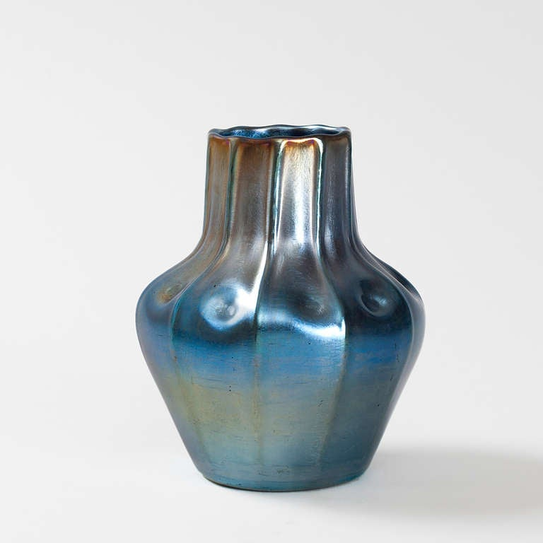Tiffany Studios Favrile Glass Iridescent Blue Vase with Ribbed Decoration 2