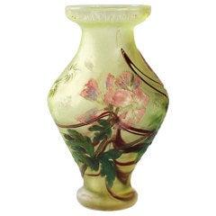 French Art Nouveau Cameo Glass Vase by Burgun & Schverer