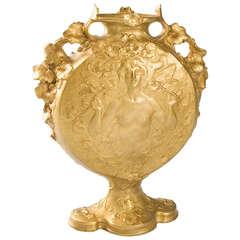 Jules Jouant French Art Nouveau Bronze Vase