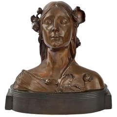Josef Öfner Austrian Art Nouveau Bust of Ophelia