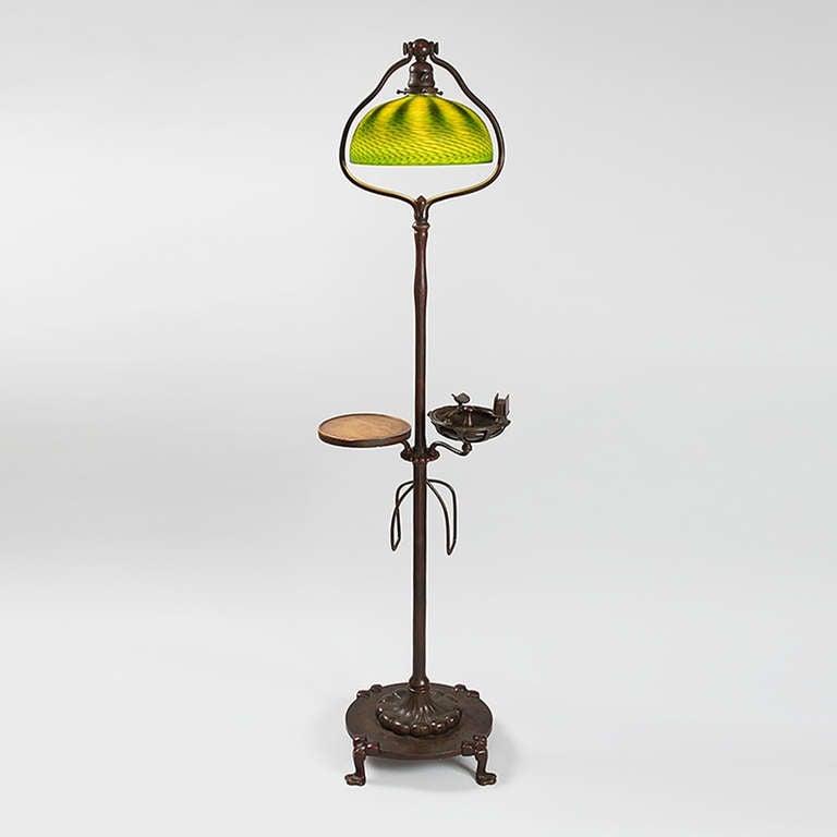 Tiffany studios quotsmokersquot floor lamp at 1stdibs for Tiffany floor lamp value
