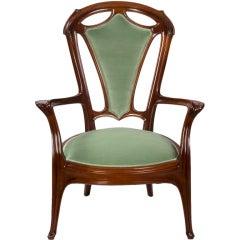 Jacques Gruber French Art Nouveau Armchair