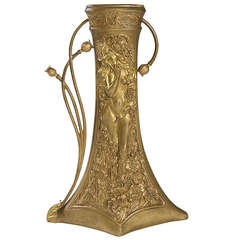 Charles Korschann French Art Nouveau Bronze Vase