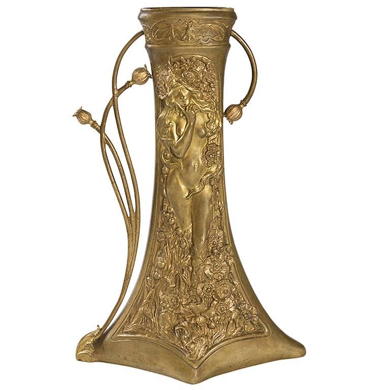 Charles Korschann French Art Nouveau Bronze Vase For Sale