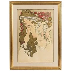 """Alphonse Mucha French Art Nouveau Lithograph """"Salons des Cent XXeme Exposition"""""""