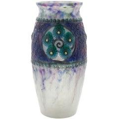 """Pâte-de-Verre Vase titled """"Médallions Fleurs"""" by Gabriel Argy-Rousseau"""