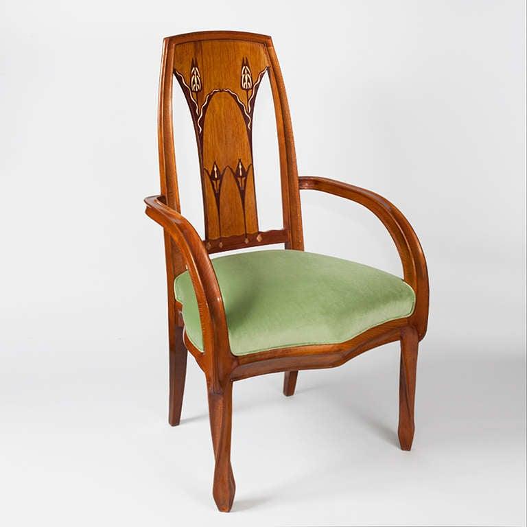 Louis majorelle pair of french art nouveau beach wood