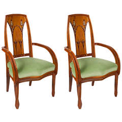Louis Majorelle Pair of French Art Nouveau Beach Wood Armchairs