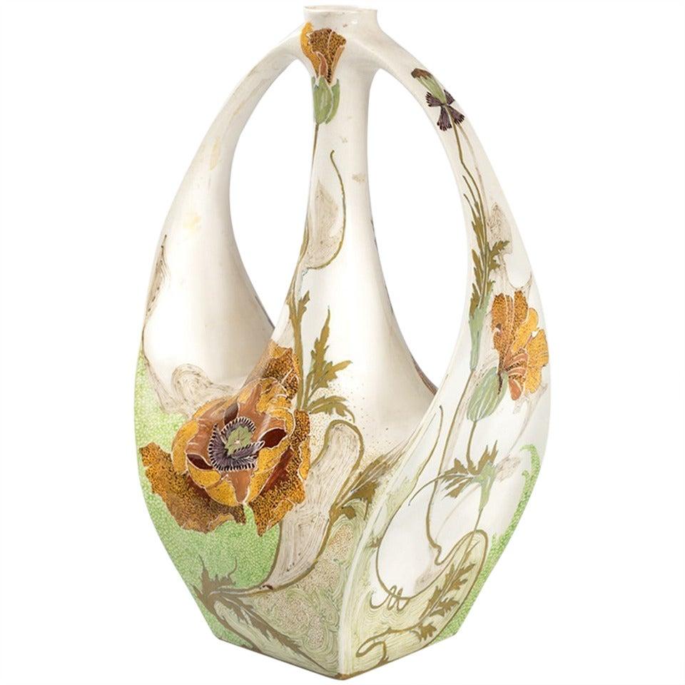 Samuel schellink for rozenburg dutch jugendstil porcelain vase for
