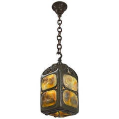 "Tiffany Studios ""Turtleback Tile"" Hanging Lantern"