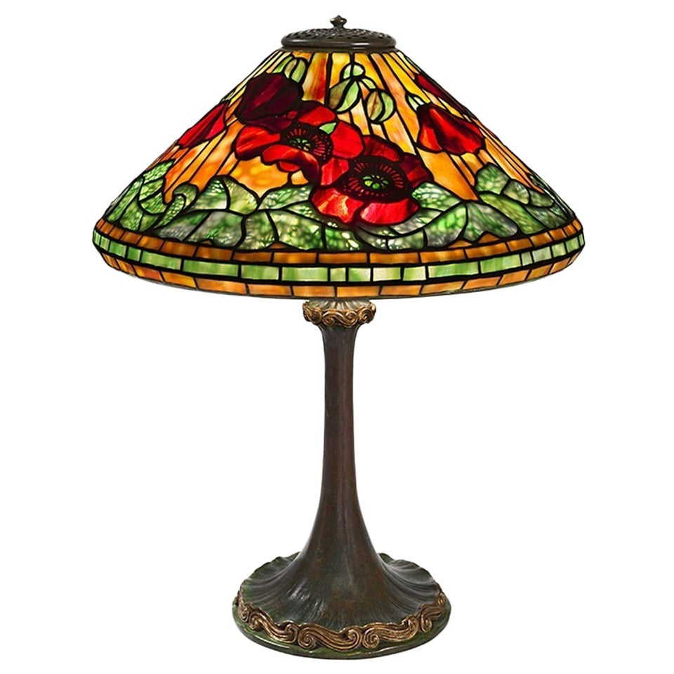 "Tiffany Studios New York ""Wire Mesh Poppy"" Table Lamp For Sale at ..."
