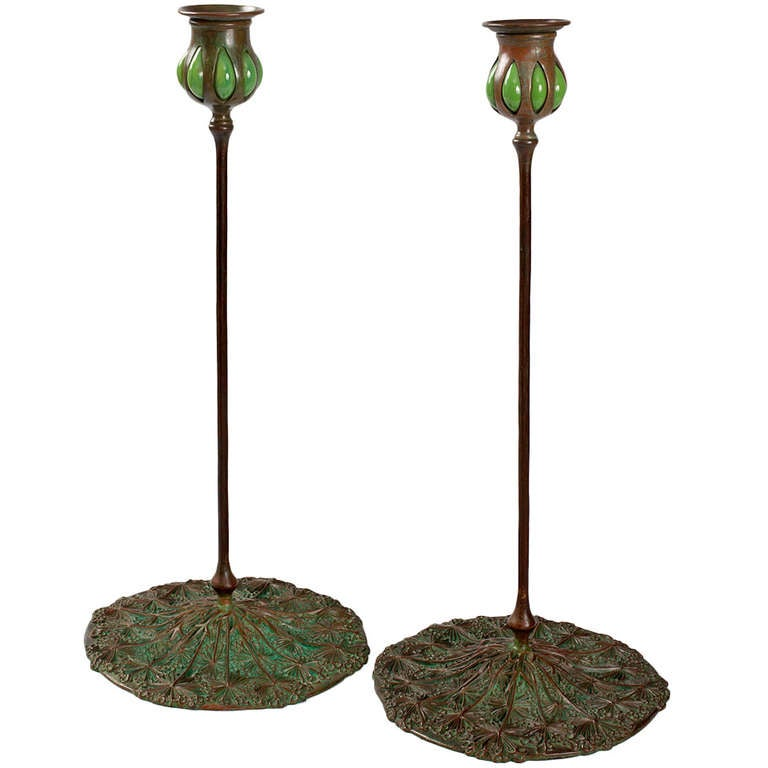 """Tiffany Studios New York """"Queen Anne's Lace"""" Candlesticks ..."""