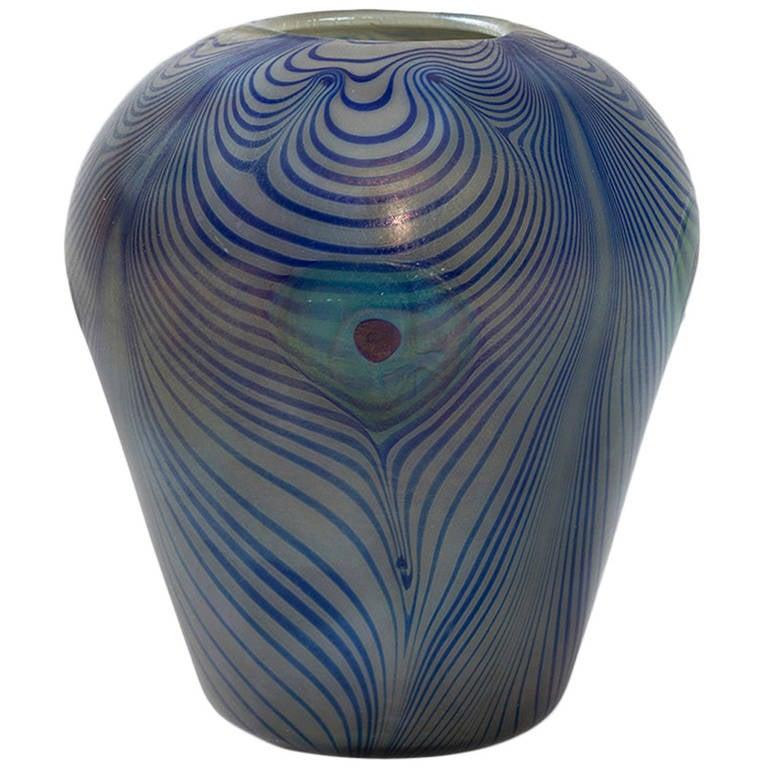 Tiffany Studios New York, Glass Peacock Vase For Sale