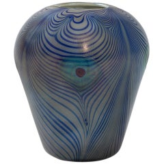 Tiffany Studios New York, Glass Peacock Vase