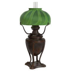 Tiffany Studios Favrile Glass and Patinated Bronze Oil Lamp