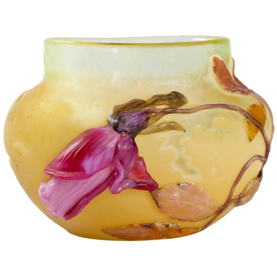 """Émile Gallé """"Rose de France"""" Glass Vase"""