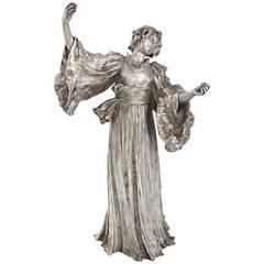 Agathon Leonard French Art Nouveau Silvered Figural Sculpture