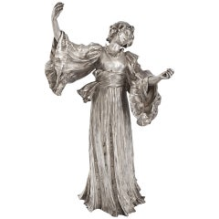 "Agathon Léonard ""Danseuse Chantant"" Silvered Bronze Figural Sculpture"