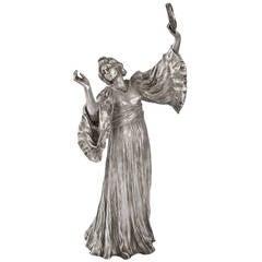 Agathon Léonard French Art Nouveau Silvered Figural Sculpture