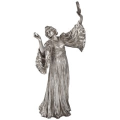 Agathon Léonard French Art Nouveau Silvered Figural Sculpture