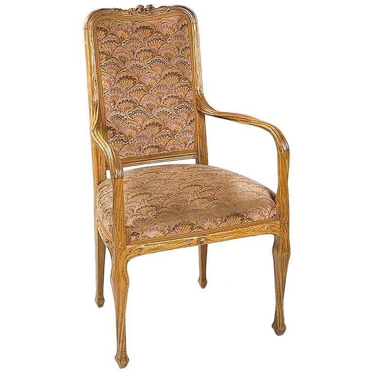 Louis Majorelle French Art Nouveau Armchair For Sale