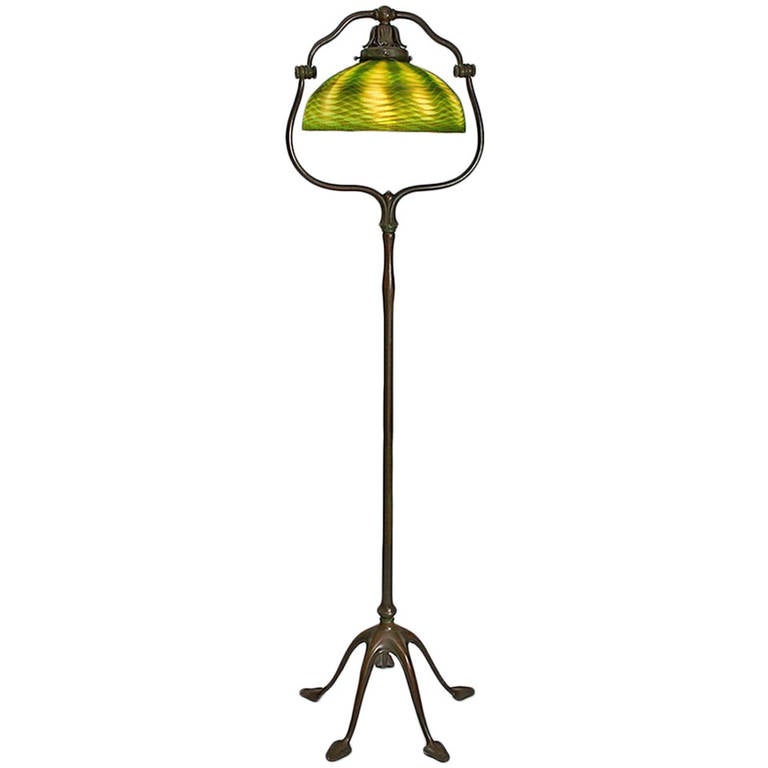 Tiffany studios bronze and glass floor lamp at 1stdibs for Tiffany style vase floor lamp