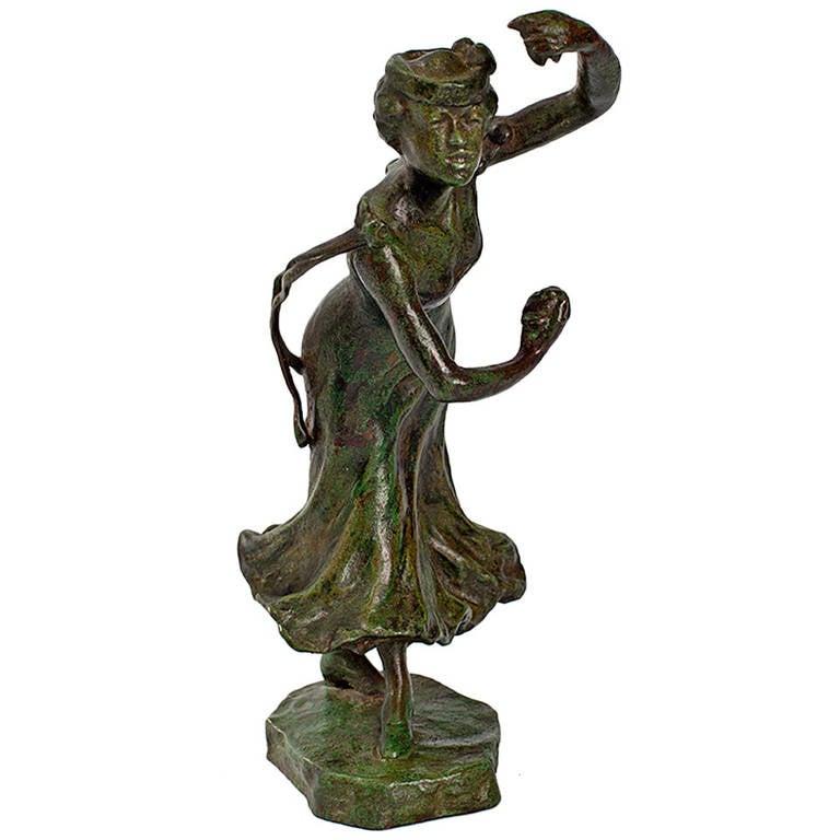 Rupert Carabin Bronze Figural Castanets Dancer