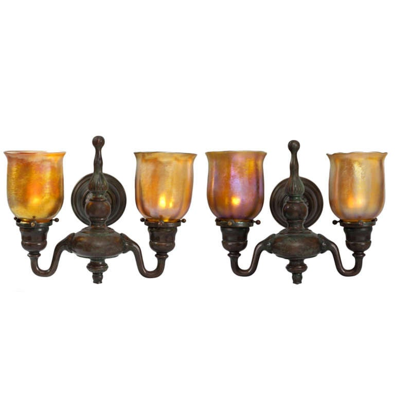 Wall Sconces Nyc: Tiffany Studios New York Double Arm Wall Sconces At 1stdibs