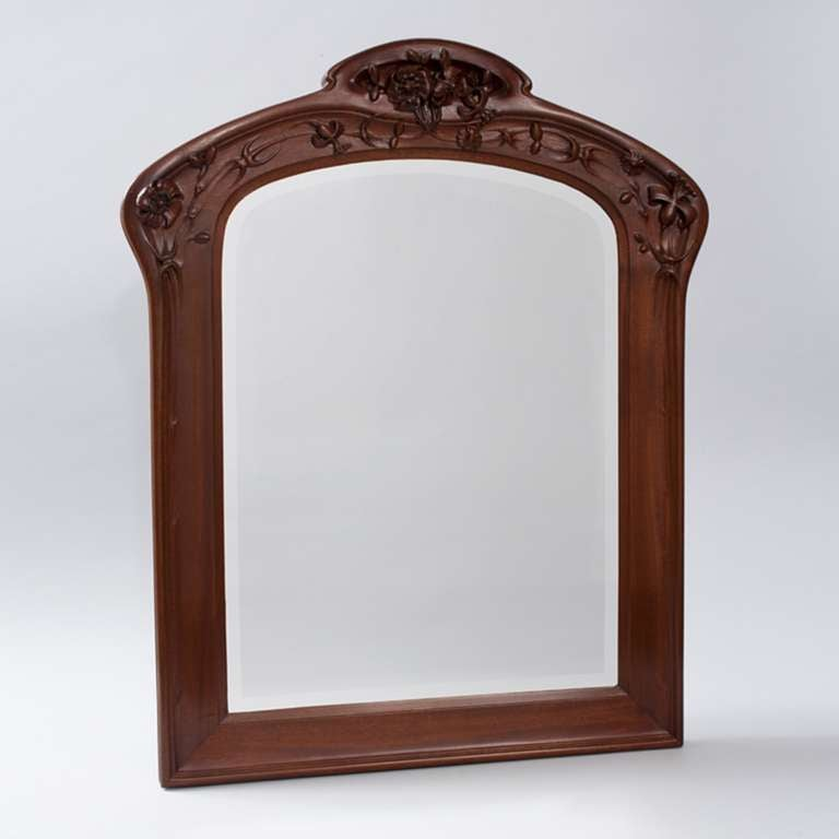 Wall Art With Mirror Frame : Majorelle french art nouveau framed mirror quot aux cl?matites