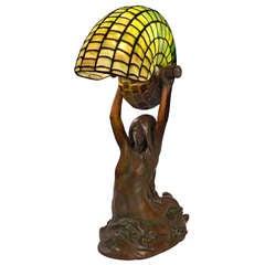 "Tiffany Studios New York ""Nautilus"" Table Lamp with Gudebrod ""Mermaid"" Base"