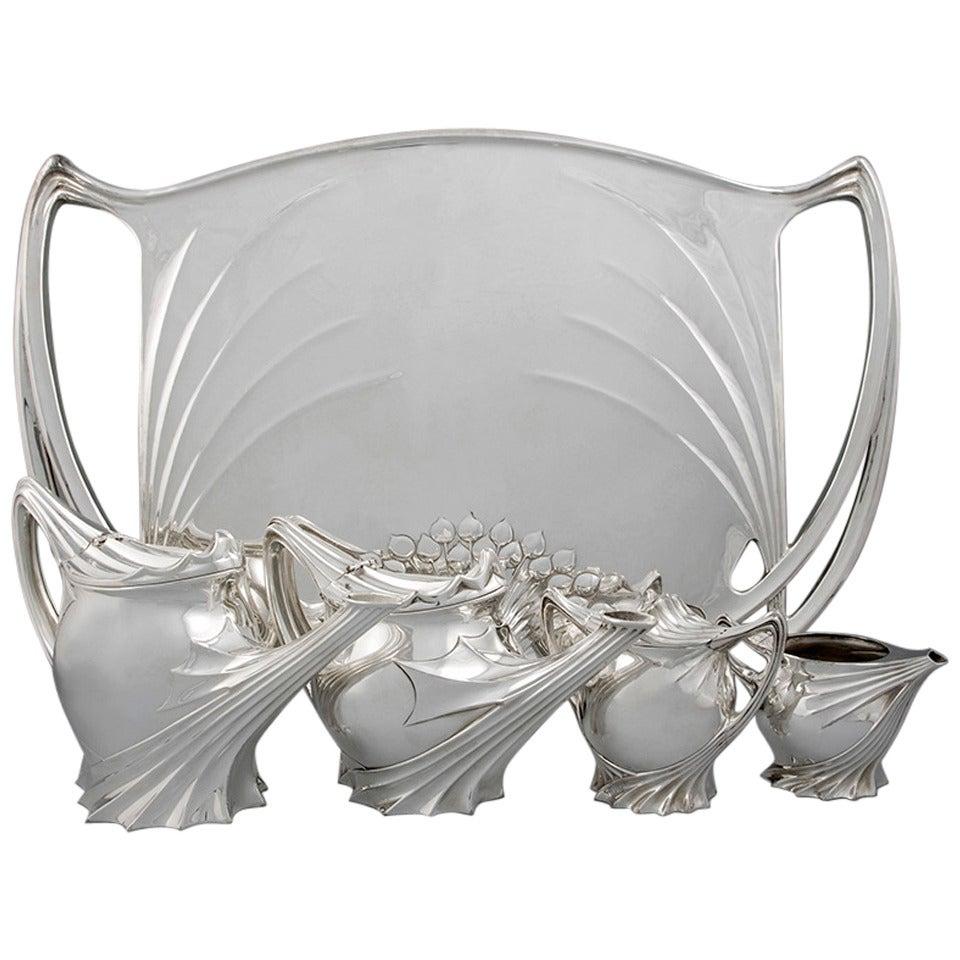 Paul Follot French Art Nouveau Silver Tea Service