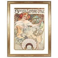 "Alphonse Mucha French Art Nouveau Lithograph ""Biscuits Lefèvre-Utile"""
