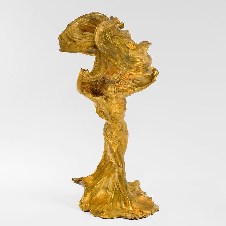 raoul larche nouveau gilt bronze lighted sculpture of lo 239 e fuller at 1stdibs