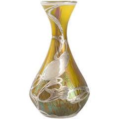 Loetz Jugendstil Glass and Silver Overlay Vase