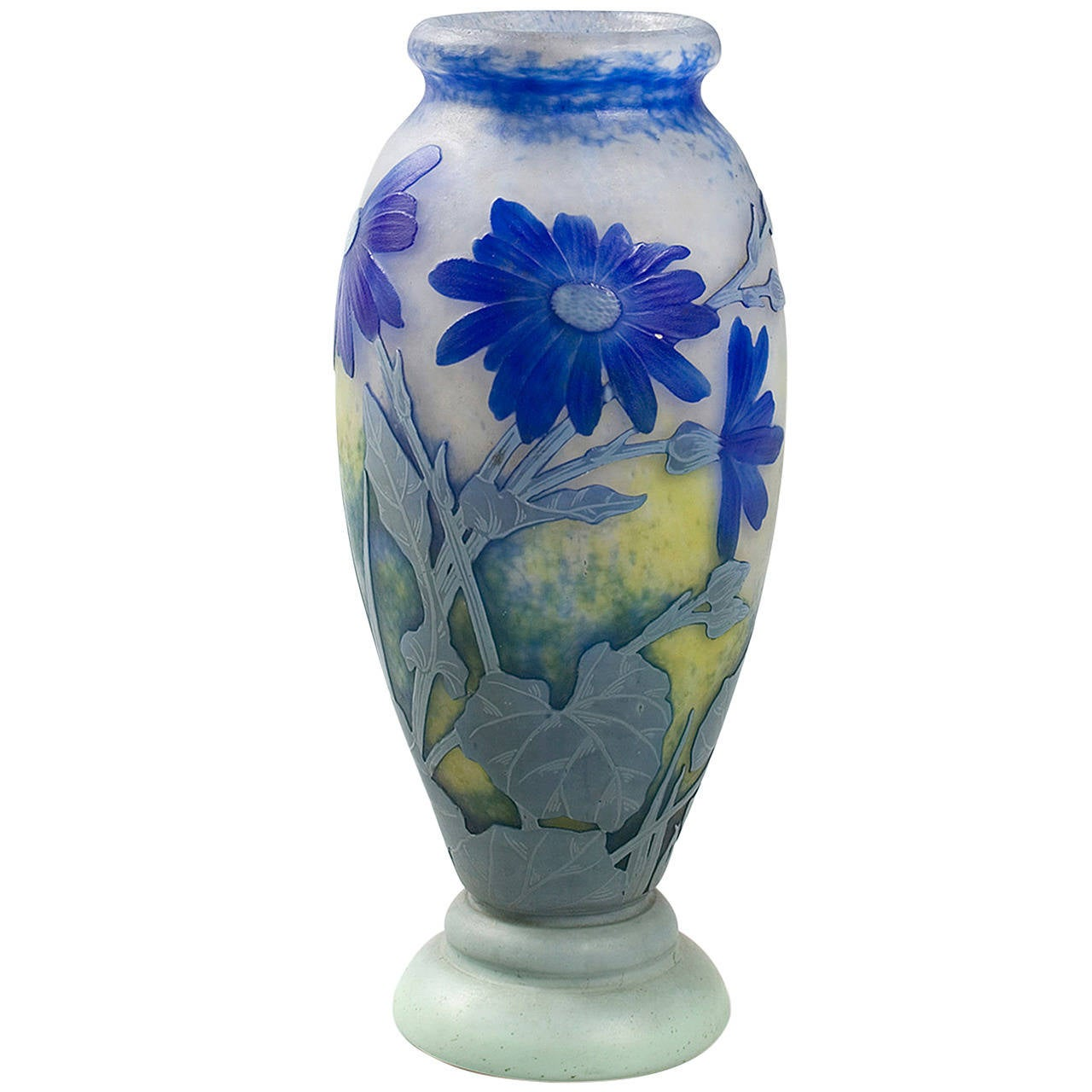Daum Nancy French Art Nouveau Cameo Glass Vase For Sale at