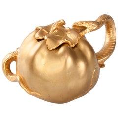 Becker Art Nouveau Gilt Bronze Serpent and Apple Inkwell