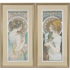 """Alphonse Mucha French Art Nouveau Lithographs """"Le Printemps et la Plume"""""""