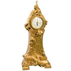 Marionnet French Art Nouveau Bronze Clock