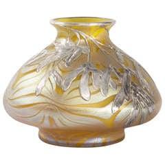 Loetz Jugendstil IIridescent Glass and Silver Overlay Vase