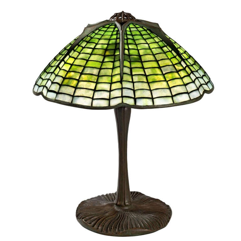 "Tiffany Studios New York ""Spider"" Leaded Glass Table Lamp"