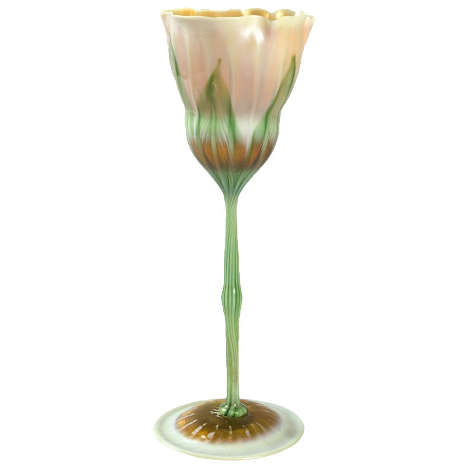 Tiffany Studios New York Favrile Glass Flower Form Vase